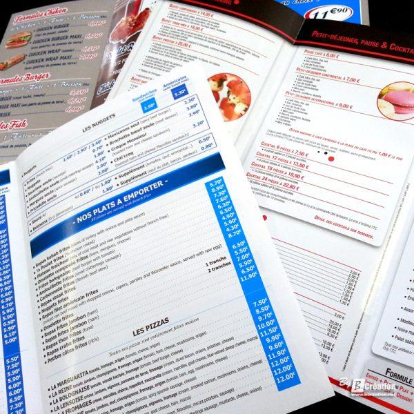 Dépliants publicitaires restaurants traiteurs