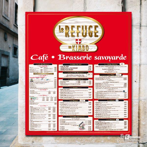 Panneau porte-menu restaurant Le Refuge du Kimbo Amiens
