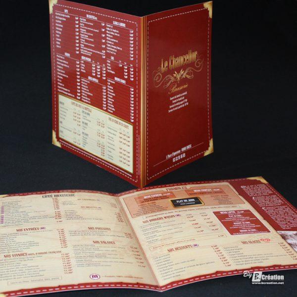 Carte menu restaurant Le Chancellor Amiens
